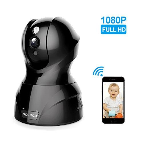 Aoleca Cámara de Vigilancia 1080P Full HD WiFi IP Camera Seguridad Interior Detección Movimiento Visión Nocturna Incorporado Altavoz Micrófono Pan Tilt Monitor Compatible con Smartphones iOS y Android