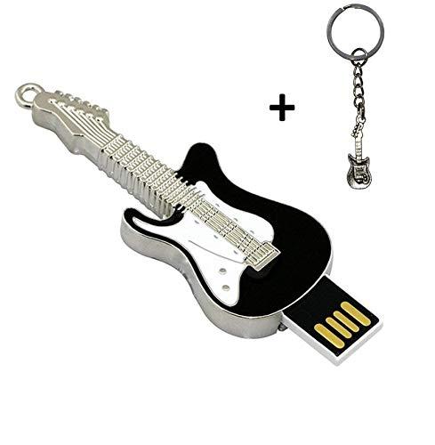 lynneo Llave USB Guitarra eléctrica Negra de Metal Capacidad 16GB portátil con un Llavero Metal Guitarra Incluye. Ideal como Regalo.