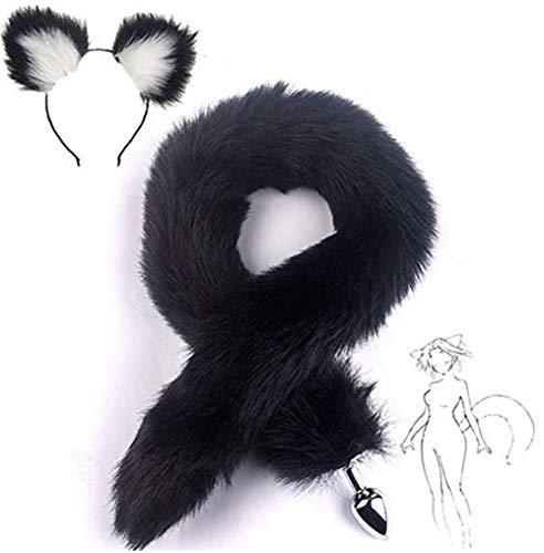 Fox Tail Kostüm Fluffy - Bnmgh White-Black Fluffy B-ütt P-l-ǔ-g Fox Tail, Cat Ears Headband Cosplay Role Play Halloween Toys Make Life Wonderful 2Pcs/Set