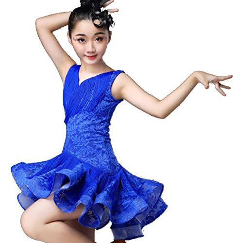 YZLL Latin Dance Kostüm für Kinder Quaste Rock Latin Kostüm Latin Rumba Samba Ballroom Dancewear - Ballroom Samba Kostüm