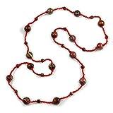 Avalaya Dichiarazione Perline di Vetro Rosso con Sfera in Legno Marrone-Collana Lunga 145cm l