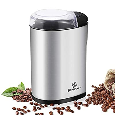 Sararoom Electric Coffee Grinder 200W for Coffee Bean Seeds Nut and Spice Grinding with Twin Cutting Stainless Steel Blades, Portable Coffee Bean Grinder Transparent Lid with 70g Big Capacity, Low-noise Operation from Sararoom