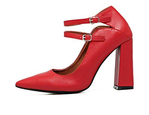 YCMDM Femmes Double Bouton Bouche Basse Pointue Rough Avec Talons Chaussures Simple Chaussures De Mariage Rouge Red