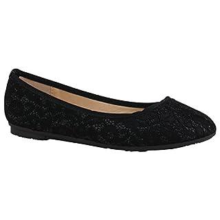 Spitze Damen Ballerinas Pastell Flats Riemchen Cut-Outs Schuhe 155270 Schwarz Glitzer Cabanas 41 Flandell m0JyQ