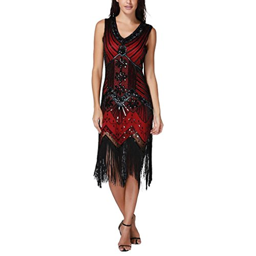 Pingtr Women's 1920s V Neck Beaded Fringed Gatsby Theme Flapper Dress Body Con Sequin Dresses Rockabilly Retro Cocktail Evening Swing Party Dress Prom Dress