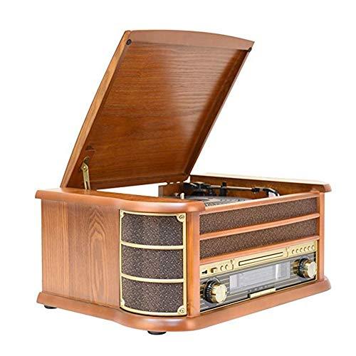 Nostalgic Wooden 7 In 1 Bluetooth Music Center Con Reproductor De Discos De Vinilo Giradiscos Retro Reproductor De Cdcassette