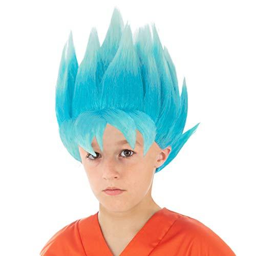 Son Kostüm Perücke Goku - CoolChange Dragon Ball Kinder Perücke, Variante: Super-Saiyajin Blau (Blau)