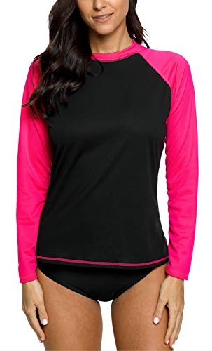 V FOR CITY Damen Schwimmshirt Langarm UV Shirt Rash Guard Bademode Badeshirt UPF 50+ M - Aus Langarm-shirt