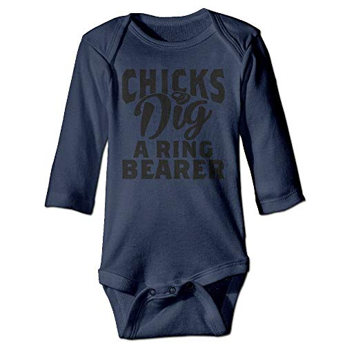 Unisex Toddler Bodysuits Chicks Dig A Ring Bearer Boys Babysuit Long Sleeve Jumpsuit Sunsuit Outfit Navy (Baby-ring-bearer-outfit)