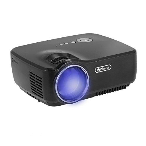 iClever IC-P02 Tragbarer Multimedia-Mini-LED-Projektor mit USB-VGA-HDMI-Anschlüsse