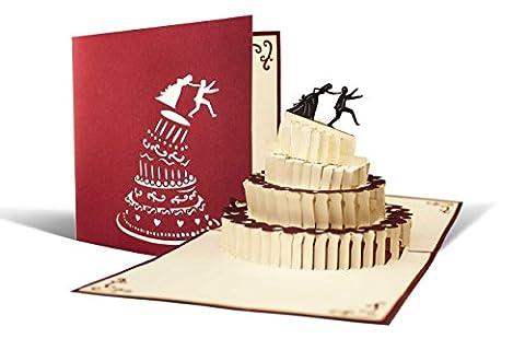 L09 Carte de voeux pour anniversaires de mariages, motif marier fuite de haute qualité fait a main, gateau de mariage avec jeunes mariés scène