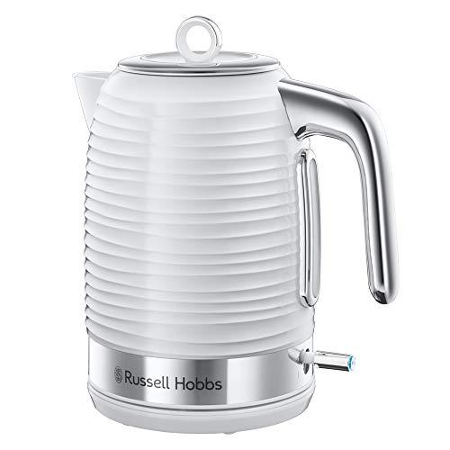 Russell Hobbs 24360-70 Wasserkocher Inspire White, 2400 Watt, 1.7l, Schnellkochfunktion, energiesparend, hochwertiger, strukturierter Hochglanz-Kunststoff, weiss