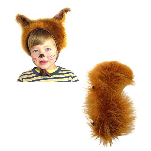Kostüm Zubehör Eichhörnchen - SIA COLLA-S Faschingskostüme Eichhörnchen Mütze mit Ohren & Schwanz für Kinder Festtage Größe S/M