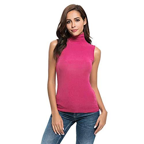 iHENGH Damen Top Bluse Bequem Lässig Mode T-Shirt Sommer Blusen Frauen Ärmelloses festes, schmal geschnittenes Damen Rollkragen T-Shirt für Damen Top Bluse(Rot, XL)