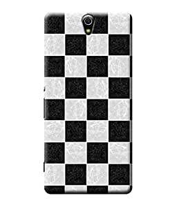 Be Awara Black & White Square Back Cover Case for Sony Xperia C5 Ultra