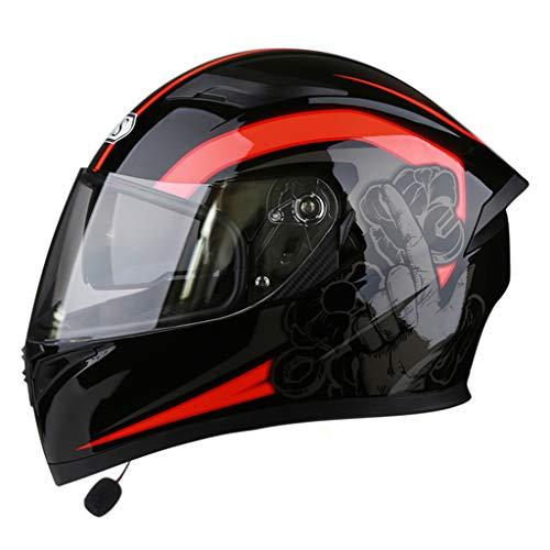 Adulti Uomo Donna Multifunzione Moto Bluetooth Caschi Modulari Flip up Smart Casco Integrale DOT Certificazione Anti-Fog Doppio Specchio Cappuccio di Sicurezza,Red,M