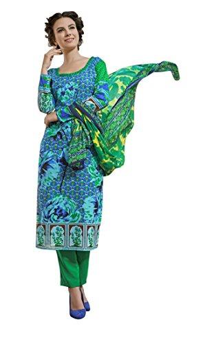 Rosaniya Un-stitched Cotton Printed lawn salwar suits with Chiffon Dupatta for women (HAS1819), Karachi Print Dress Materials, Holi Special, sale on amazon today