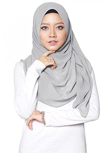 SAFIYA - Hijab Kopftuch für muslimische Frauen I Islamische Kopfbedeckung 75 x 180 cm I Damen Gesichtsschleier, Schal, Pashmina, Turban I Musselin / Chiffon - Hellgrau