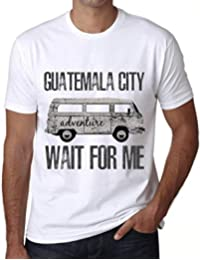 Hombre Camiseta Vintage T-Shirt Gráfico Guatemala City Wait For Me Blanco