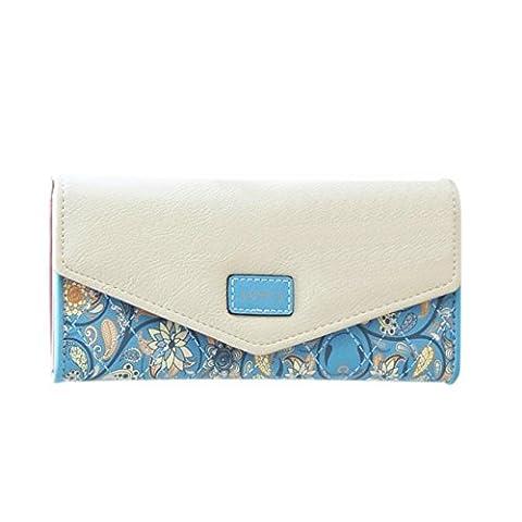 DOLDOA Elegant Blume Muster Frisch Fashion Süß Elegant Damen Portemonnaie Geldbörse,Blau (Oilily Kindertasche)