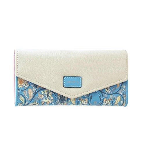 DOLDOA Elegant Blume Muster Frisch Fashion Süß Elegant Damen Portemonnaie Geldbörse,Blau