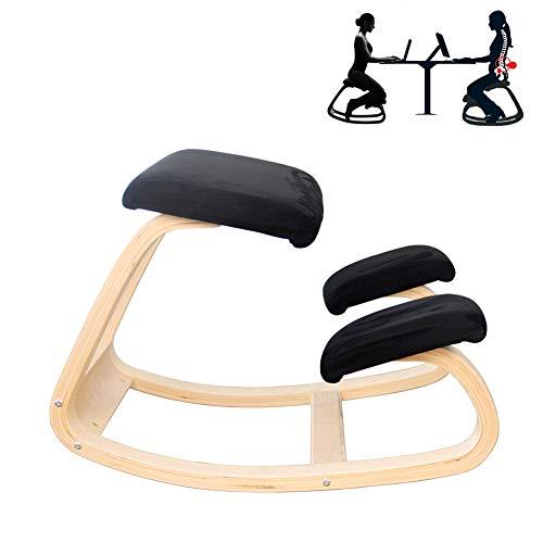 DOOKK ergonomischer Kniestuhl aus naturlackiertem Holz 72x52x51 cm,Black