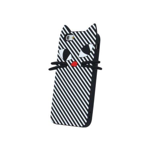 "BACK CASE 3D Katze Kitten Für Apple iPhone 7 4,7"" Apple iPhone 7 Silikonhülle Hülle Etui Flip Cover Silikon Tasche (minze / mint) schwarz / black"