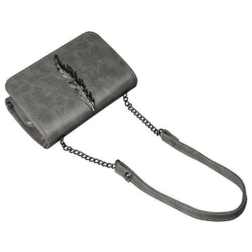 xhorizon Modische Feder Crossbody-Tasche Schultertasche aus Leder Messenger-Tasche Nietentasche Ketten-Schultertasche für Damen Grau