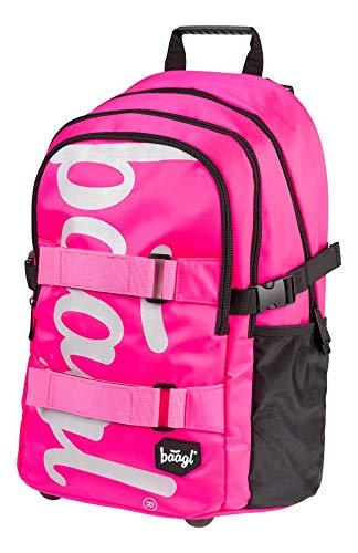 Baagl Schulrucksack für Mädchen Teenager - Skateboard Rucksack - Kinderrucksack mit Laptopfach und Brustgurt für Schule (Pink) -