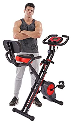 Folding Fitness Exercise Bike with Resistance Bands, 16 Level Resistance and Phone/Tablet Holder by Pleny from pleny