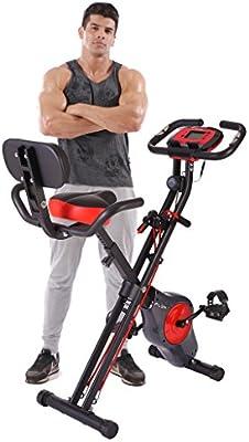 pleny - Bicicleta de ejercicios plegable, con 16 niveles de resistencia y soporte para el teléfono móvil