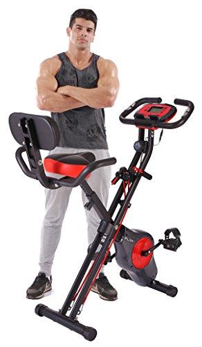 Pleny - Bicicleta de ejercicios plegable, con 16 niveles de resistencia y soporte para el teléfono...