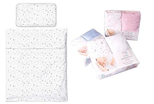 Wunderschöne Baby-Bett-Ausstattung aus Jersey (Baumwolle) STERNE: Bettwäsche 100x135 + 40x60 - weiß-blau
