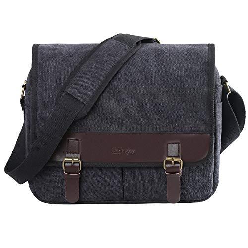 Eshow Herren Freizeit Schule Arbei Umhängetasche Schultertasche Handtasche Tasche Schultasche Messenger Bag 15,6 Zoll Laptop Canvas