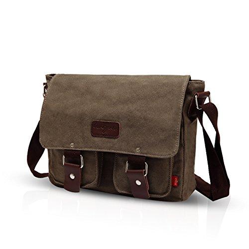 FANDARE Neu Retro Messenger Bag Umhängetasche Schultertasche 14 Zoll Laptoprucksäcke Herren Tasche Kuriertasche Multifunktions Canvas Braun Grau