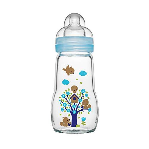 MAM Feel Good Babyflasche aus Glas (260 ml) - blaue Babyflasche mit weiter Öffnung - stabile Baby Trinkflasche mit Sauger Gr. 1, ab der Geburt, Naturmotive, blau