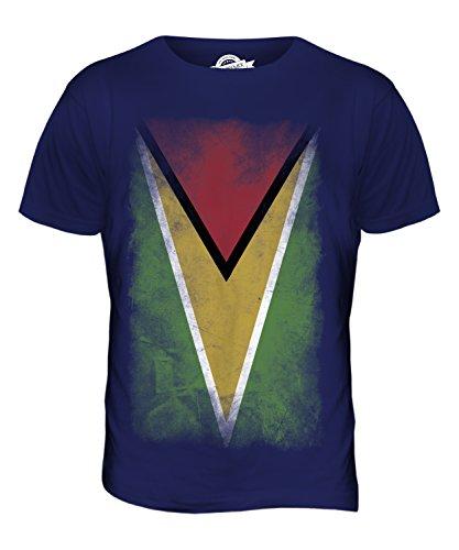 CandyMix Guyana Verblichen Flagge Herren T Shirt Navy Blau