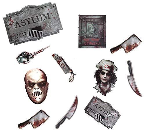 Zombie Asyl - Ning Night 12 Stück Halloween Paper-Cut