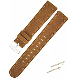 18mm Genuine Leather Brown Watchband,C'est High Quality Sports Watch Band 18mm Watch Strap for Withings Tracking Watch