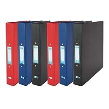 Elba - Raccoglitori a 2 anelli, formato A4, in plastica, colore: rosso/nero/blu, confezione da 6