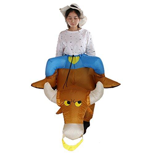 MagiDeal Aufblasbar Blowup Bull Rider Cowboy Kostüm Ganzanzug Suit Outfit (Kostüme Aufblasbare Cowboy)