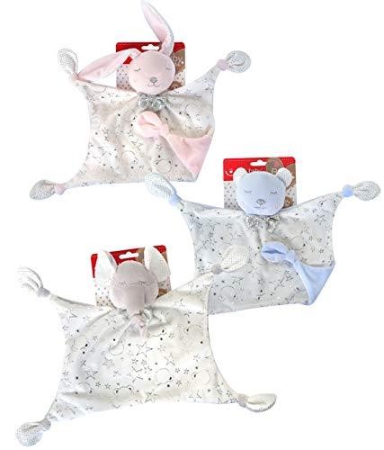 KIDDI-MEDIA Baby Kuscheltuch mit Name Bestickt (kein Druck) / wunderschöne 3D Motive zur Auswahl - ideal als Schnuffeltuch und Trösterchen (Rosa/Weiss - HASE)