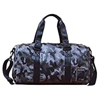 YUELANG Pu Leather Gym Bag Male Bag Top Sport Shoe Bag For Women Fitness Over The Shoulder Yoga Bags Travel Handbags Camouflage (Color : Gray camouflage L, Size : One size)
