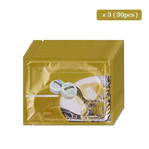 Yihen 30 Paar Goldkollagenaugenmaskenpulver-Kristallgelaugenmaske, Feuchtigkeitsspendend, Augenringe, Tränensäcke, Straffend, Augenabstand(White) -