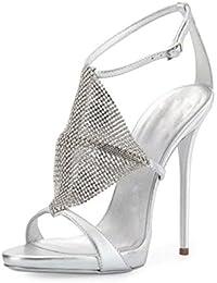 Zapatos de Mujer Retro Elegante Diamantes Finos Hebilla abrochada Sandalias de Moda de Tacón Abierto