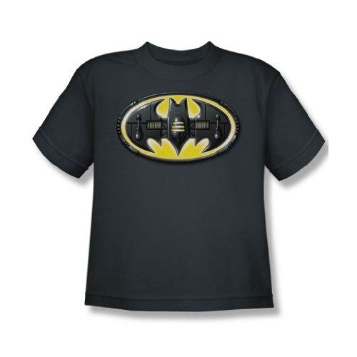 Batman - Bat Mech Shield Jugend T-Shirt in der Holzkohle Charcoal