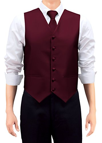 Retreez Gilet tissé de couleur unie pour homme avec cravate et nœud papillon Coffret cadeau Bordeaux