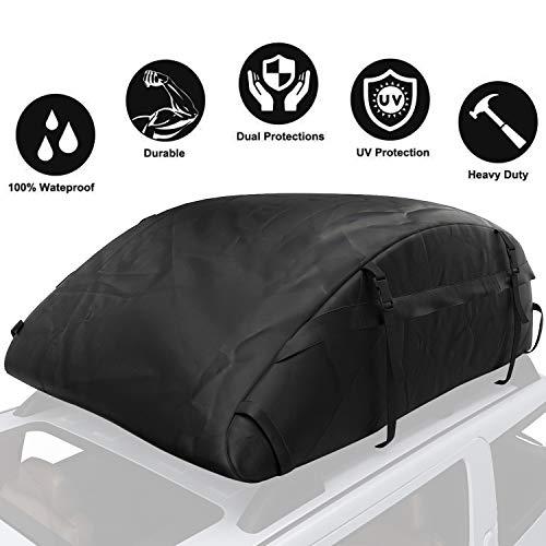 Sailnovo Auto Dachbox, Faltbare Dachkoffer Aufbewahrungsbox Wasserdicht Dachtasche Dachgepäckträger Tasche Aufbewahrungsbox für Reisen und Gepäcktransport, Autos, Vans, SUVs, Schwarz
