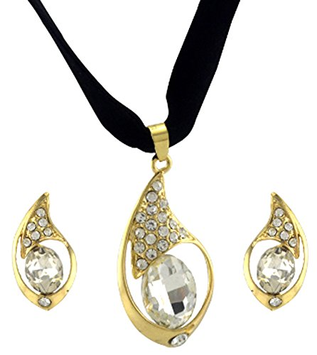 saysure-jewelry-set-big-gold-plated-crystal-pendant-ribbon-necklace