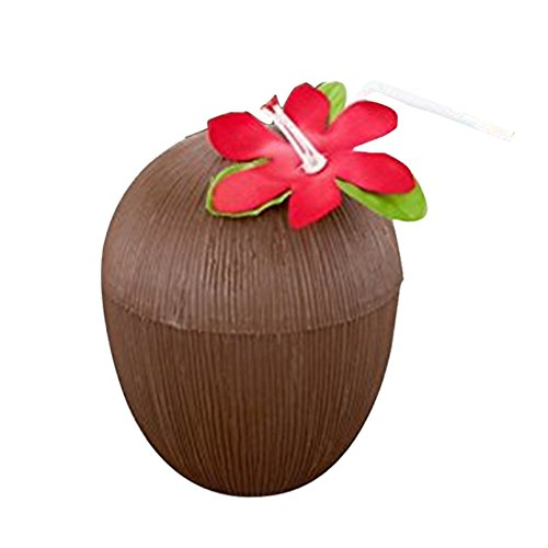Coconut Tassen, 12 Kunststoff Hawaii Drink Cup mit Kinder Partys Tiki Flower Stroh und Strand Luau Party Thema Party Supplies